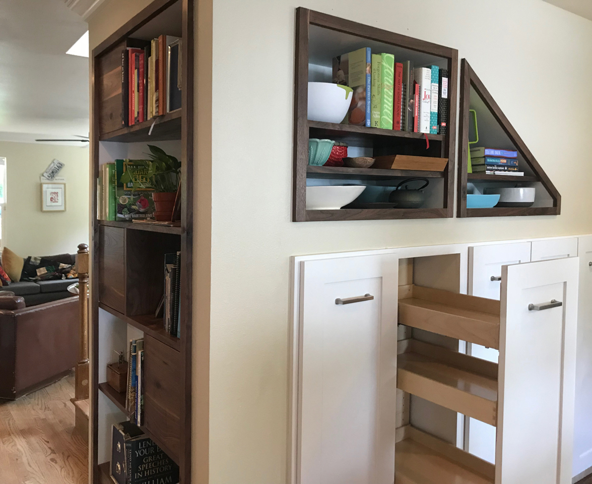 Walnut Built-in Shelf and Pantry Pullouts